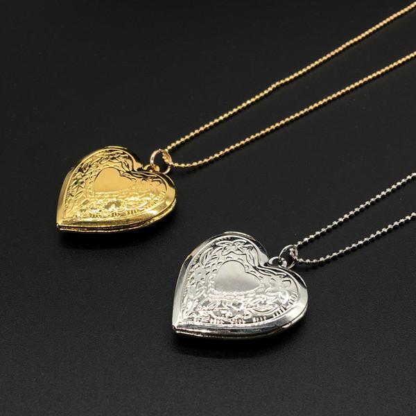 2020 joyería de la flor colgante de collar flotante Locket del corazón de las mujeres / de los hombres de los amantes al por mayor de regalo color oro romántico Fantasía Locket de la foto