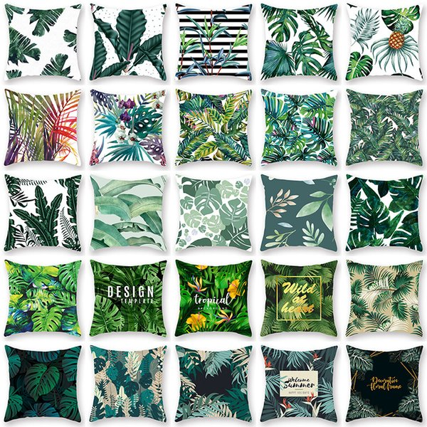 Tropical Plant Pillowcase Cushion Cover Glamour Square Pillow Case Cushion Cover Home Office Sofa Car Decoration WX9-1243