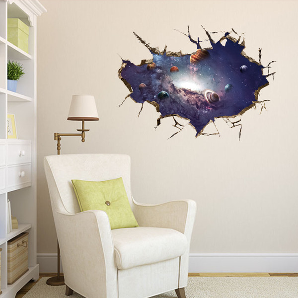 Planets 3D Wall Decal PVC Outer Space Wall Art for Living Room Bedroom Decor Galaxy Earth Sticker Murals