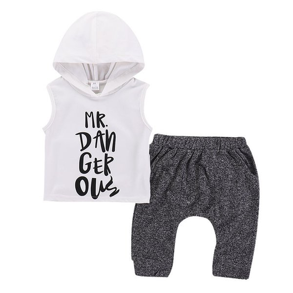 2PCS Newborn Kids Baby Boy Hooded Vest Tops+Pants Shorts Outfits Clothes Summer