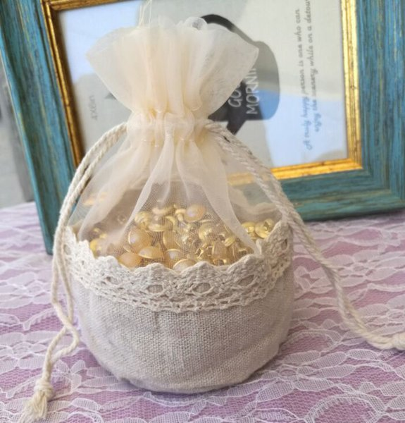 """Lace Linen organza Gift Pouch 13x13cm (5""""X5"""") pack of 24 Baby Shower Birthday Party Wedding Favor Drawstring Bag"""