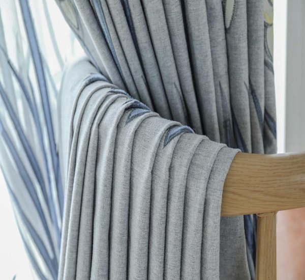 New Modern European Style Upscale Embroidered Grey Curtains for Living Dining Room Bedroom Plain and Pure Curtains