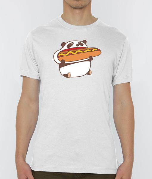 Cute Cartoon Panda Eating Hot Dog Men's White T-Shirt Sizes S-XXL harajuku Summer 2018 tshirt