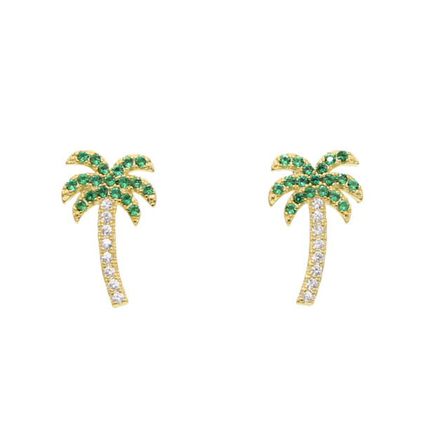 Summer Holiday Style Palm Tree Zircon stud Earrings Green Coconut Tree Earrings For Women paved mini clear cz charm jewelry gift