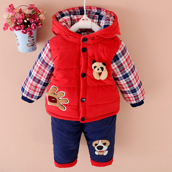 2018 Baby Winter Clothes Sets Boys And Girls Plus Velvet Thick Clothing 2 Piece Children Cartoon Hooded Clothes Suits 1-3 Years CJ191129