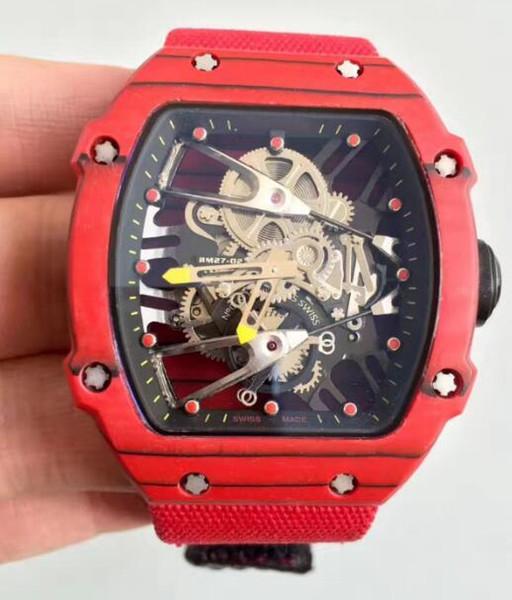 Prezzo all'ingrosso Fibra di carbonio rossa Automaic di lusso Meccanico Scheletro orologi in vetro temperato minerale Per uomo Orologio da polso antico Vendita