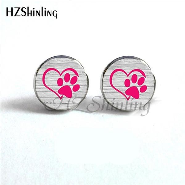 Nouvelle arrivée chien patte boucles d'oreilles à la main rond en verre dôme belle chien empreintes d'oreilles boucles d'oreilles pour animal amoureux cadeau HZ4 ED-0032