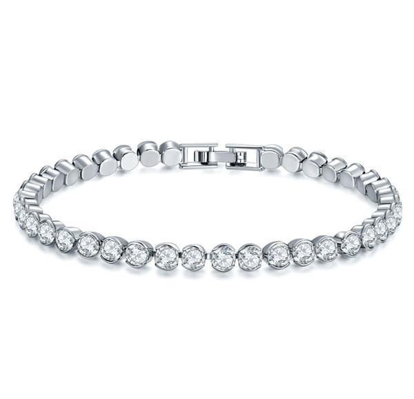 4mm Silver Color Rhinestones Bracelet Bling Clear Crystal Charm Bracelet Pink Blue White Bracelet Women Wedding Party Jewelry