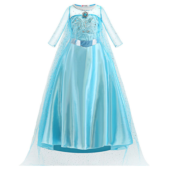 best selling Girls Cosplay Princess Dress Diamond Costume Stage Performance Kids Clothes Snow Christmas Party Show Dress 3-10T 07