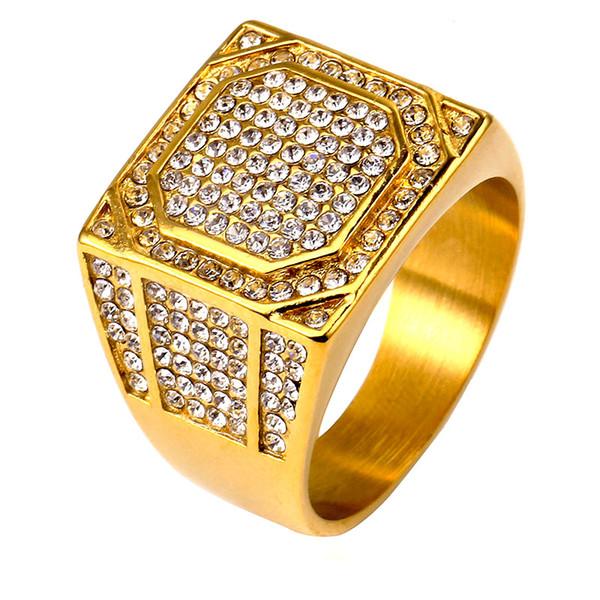 Anel de Hip Hop Aço Inoxidável Congelado Micro Pave CZ Cubic Zirconia Anéis De Cristal De Ouro Para Homens Mulheres Rhinestone Jóias 2019 Presente