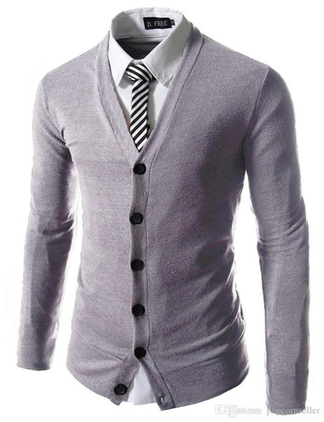 Mens New Fashion Designer Sweater Popular Mens Pure Color Slim Business Cardigan Coat Mens Slim Casual Apparel