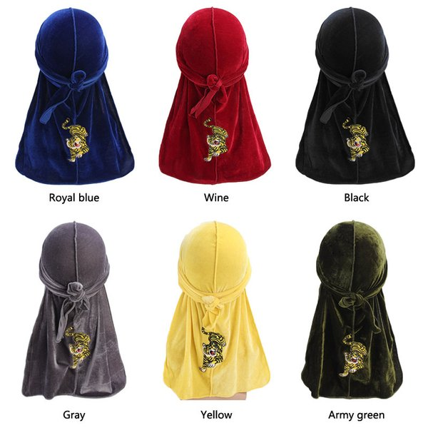 Tiger Embroidery Durag Windproof Bandage Waves Cap Long Tailed Pirate Hat Men Fashion Headband Velvet Autumn Warm 9 8yd hh