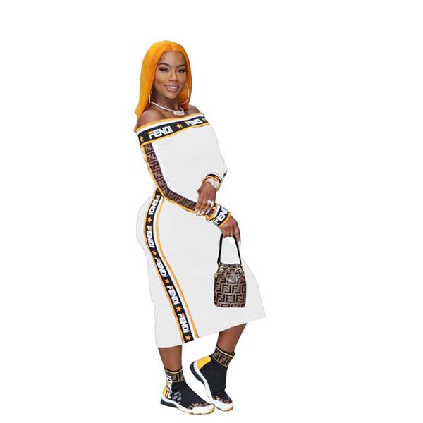 2019 Designer Femme Robes D'été FF Lettres À Manches Longues Ruban Patchwork Robe De Luxe Hors Épaule Robes De Soirée Moulante Vêtements C61705