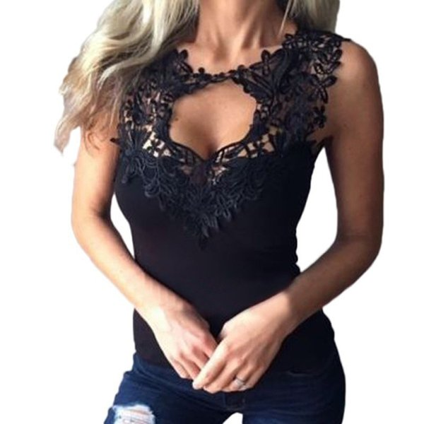 Summer S-3XL Women Sexy Sleeveless T-Shirts Lace Crochet Hollow Out Fitness Tees Tops Casual Vest Shirts Plus Size Blusas T5190605