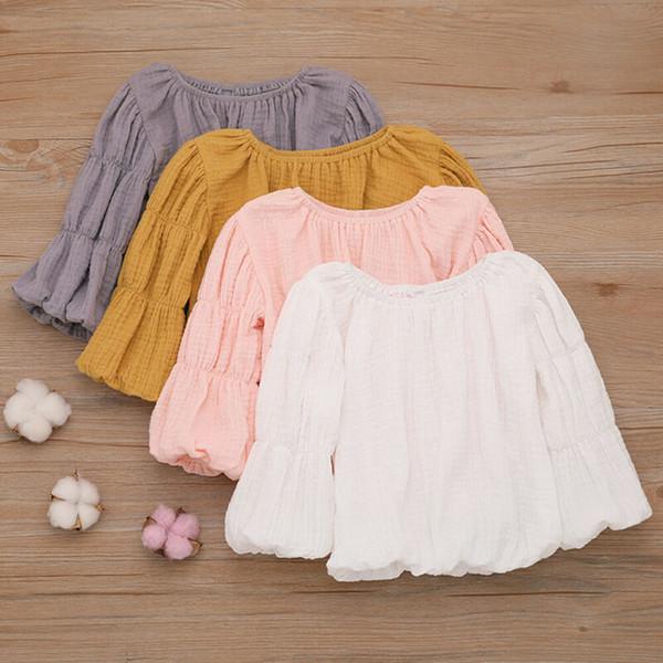 Newborn Kids Baby Girl Lantern Sleeve Tops Shirts Blouse Warm Round Neck Clothes Baby Girl T-Shirts