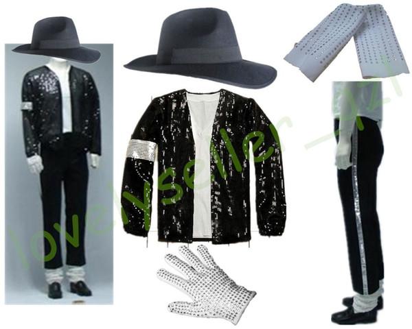 MJ Michael Jackson Billie Jean Pullu Ceket + Pantolon + Şapka + Eldiven + Çorap Suits Çocuk Yetişkinler Gösterisi Siyah Payetli Pacthwork 4XS-4XL