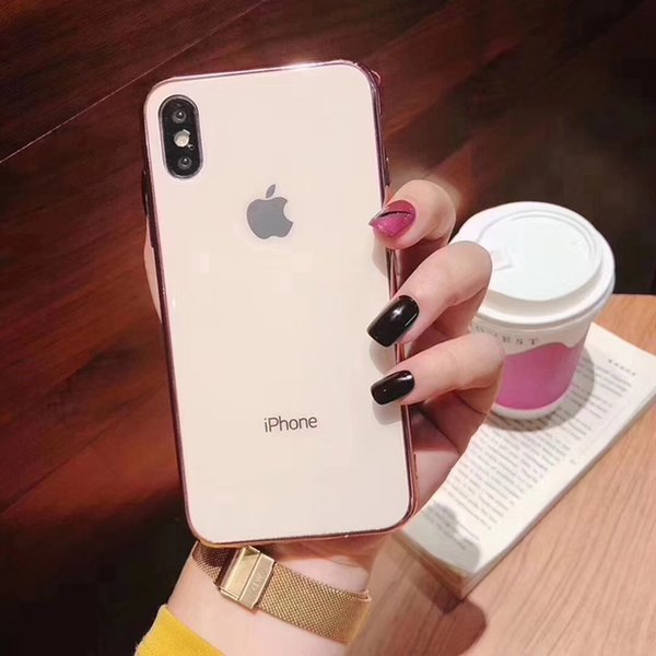 Plating Tempered Glass Back Case Plated Gloss Phone Cover Soft Bumper Gel for iPhone XS Max XR 6s 7 8 Plus 6.5