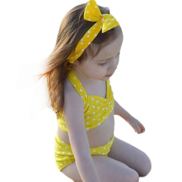 3PCS Yellow Dot Child Bikini swimsuit swimwear high waisted bathing suit for kids baby girls Biquini children +bow headband W1