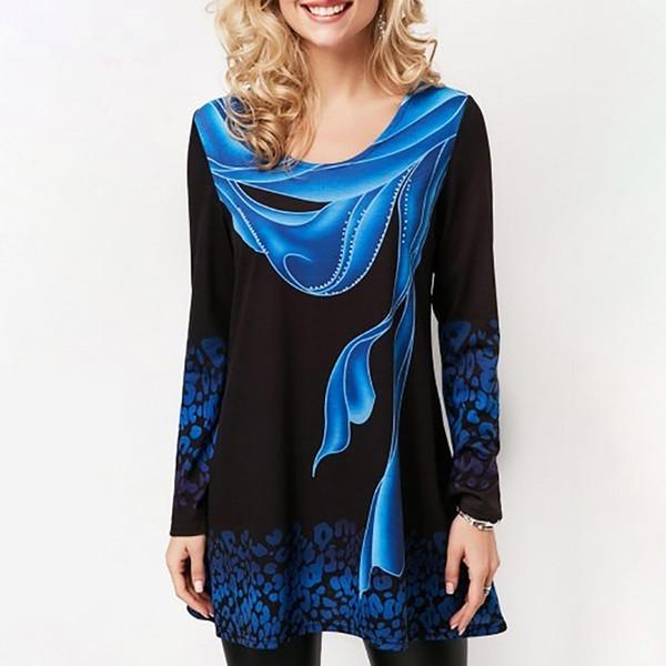 Long Sleeve Shirts Women T Shirt Plus Size 2019 Summer Print Blue Tops 100% Cotton Female T Shirt Casual Loose Tee Shirt