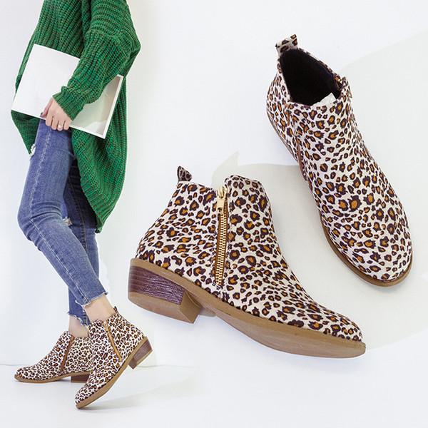 Frauen Ankle Short Booties Leopardenmuster Wildleder Martin Stiefel Schuhe Zipper Boots