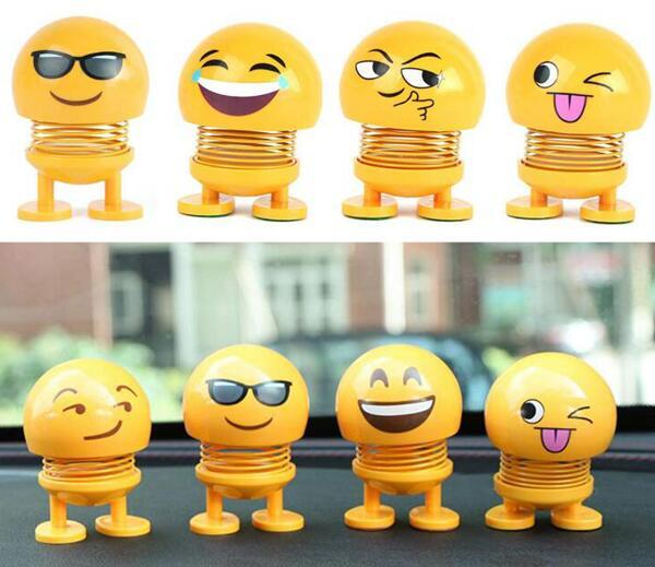 Der Frühling, der Kopf rüttelt, spielt Auto-Verzierungs-smiley-Puppen-nette Karikatur-lustiges Emoji Innenhauptroboter-reizendes Auto-Armaturenbrett-Dekor Freies Verschiffen