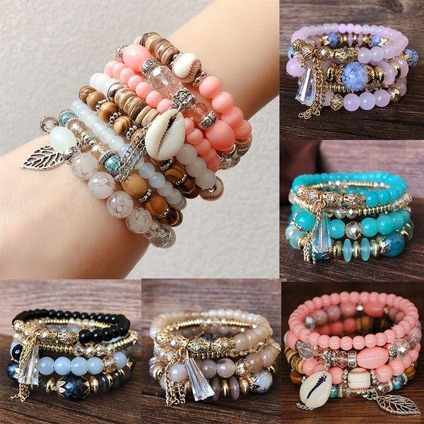 4pcs/set Bohemian Multilayer Crystal Beads Bracelets & Bangles Seashell Leaf Tassel Charm Jewelry For Women Gift Pulseras Mujer