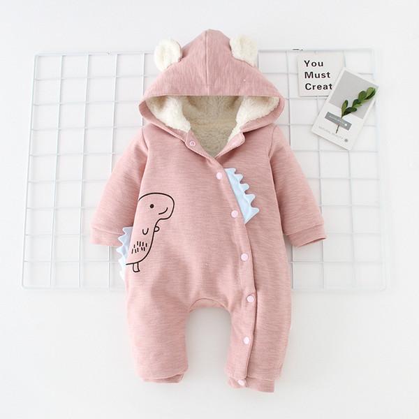 Traje de bebé de diseño de ropa infantil muchacho de las muchachas de los mamelucos cómodo dinosaurio de la historieta de manga larga con capucha de color sólido de la hebilla del mono de arrastre