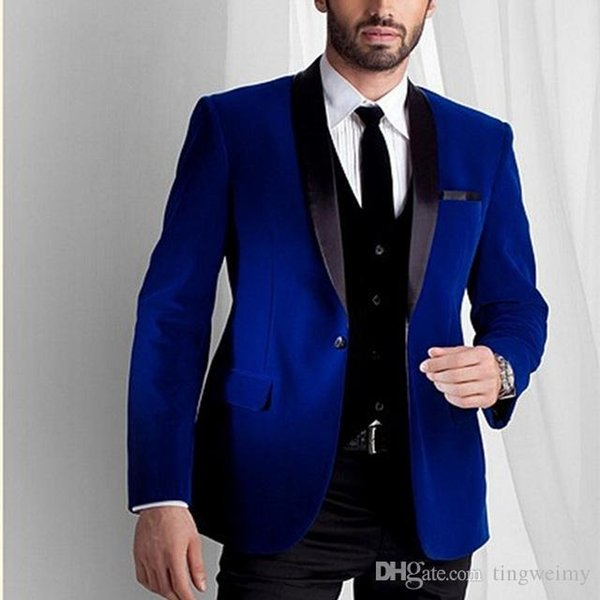 Custom Made Groomsmen Black Lapel Groom Tuxedos Velvet Men Suits Wedding Best royal blue Blazer suit 2019(Jacket+Pants+Tie+Vest)