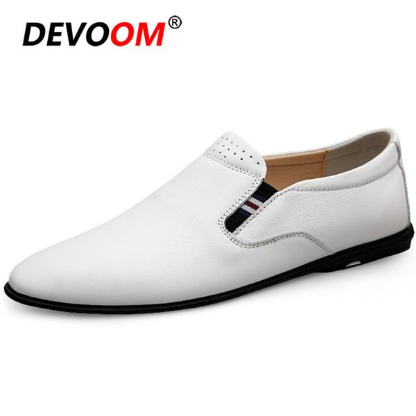Moda Branco Mocassins Bootschoenen Resistente Ao Desgaste Dos Homens Loafer Deslizamento em Sapatos de Couro Dos Homens Sapatos De Luxo Homens Designer 37-44
