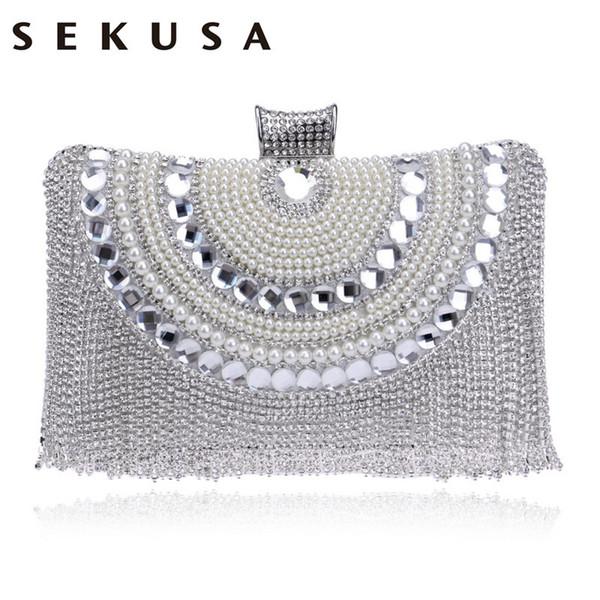 5ce25cac6 Sekusa Mulheres Pérola De Cristal Saco De Embreagem Diamantes Frisados  Cadeia Ombro Bolsas Borla