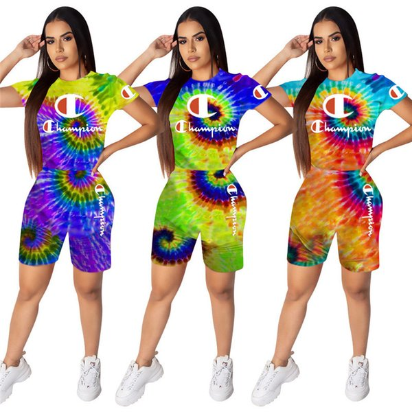 Women Champions Tracksuits Tie-dye T shirt and Biker Shorts Two Pieces Outfits Brand Designer 3D Black Hole Sportswear Bodysuit Cloth C62704