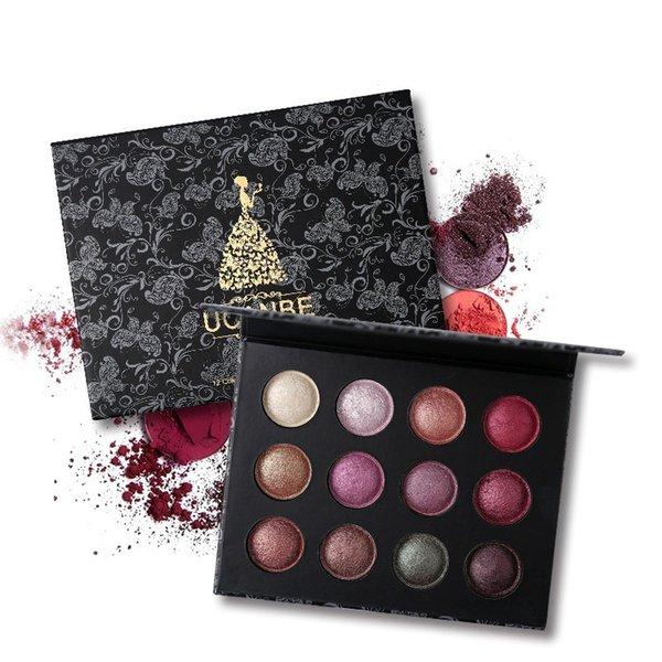 Pro High Quality 12 Colors Baked Metallic Eye Shadow Makeup Palette Glitter Smoky Nude Eyeshadow Cosmetics