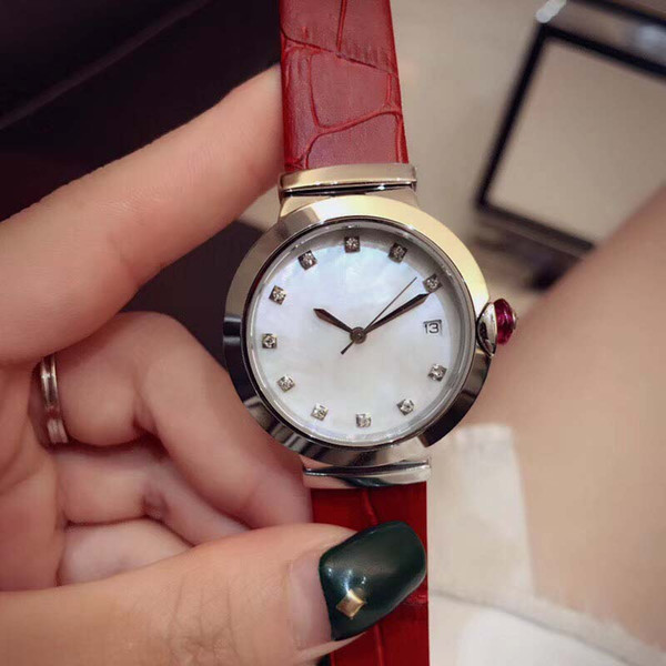 Elegant 33MM Quartz Movement Womens Watches Ladies Watch Mother Of Pearl Dial Diamond Hour Markers With Light Brown Leather Band Pink Crown