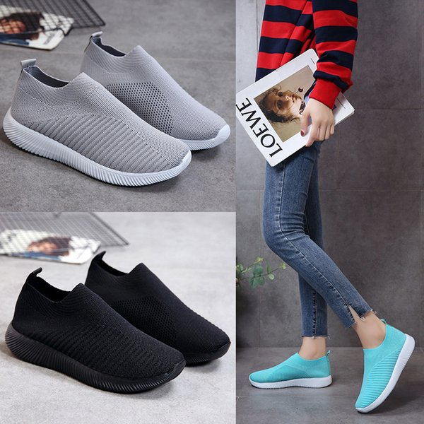 Lucky2019 Light Shallow Knitting Then Ventilation One Pedal Circle Head Will Code Leisure Time Flat Bottom Motion Women's Shoes