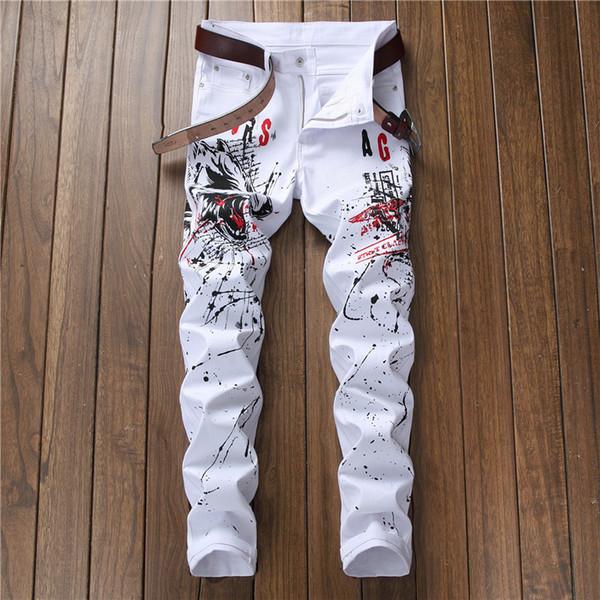 European Style Fashion Mens Jeans Men Straight Slim Denim Trousers Wolf Printed Zipper Fly Slim White Pencil Pants Jeans For Men