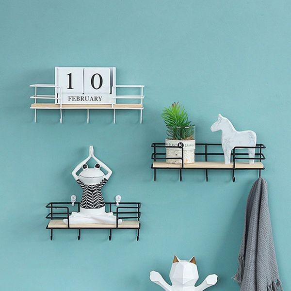 Nordic Art Wall Hanging Shelf Modern Wood Metal Iron Shelf Holder Storage Rack Wall Hanging Display Rack With Key Hook Home Decor