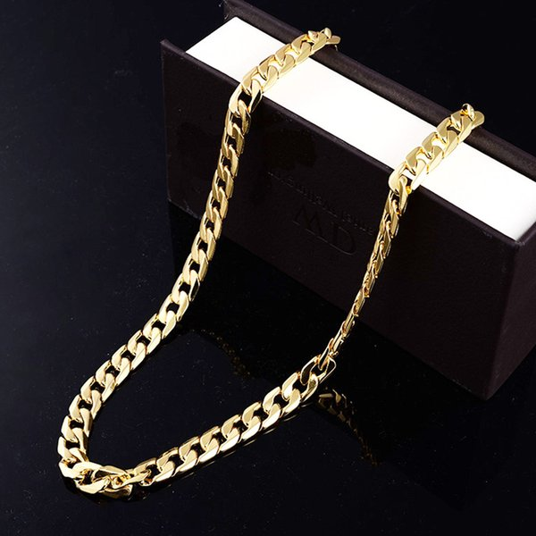 Europe And The United States Fashion Hot Chain Wholesale Men's Flat Side Necklace Jewelry Personality Big Gold Chain Gold-Plated Necklace