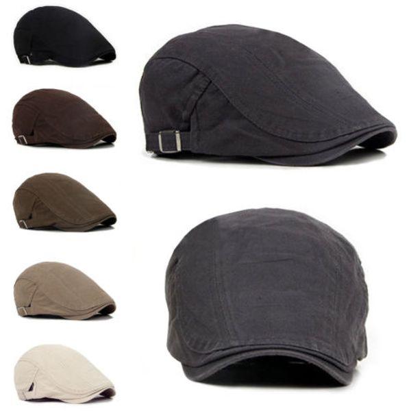 New High Rating Gentlemen Hat Berets Cap Solid Golf Driving Sun Flat Cabbie Newsboy Cap Men Fashion Flat Berets Hats