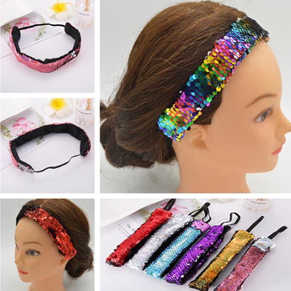 Neue heiße mode hochwertige pailletten band haarring doppelte farbe pailletten stirnbänder Haarschmuck T7C5011