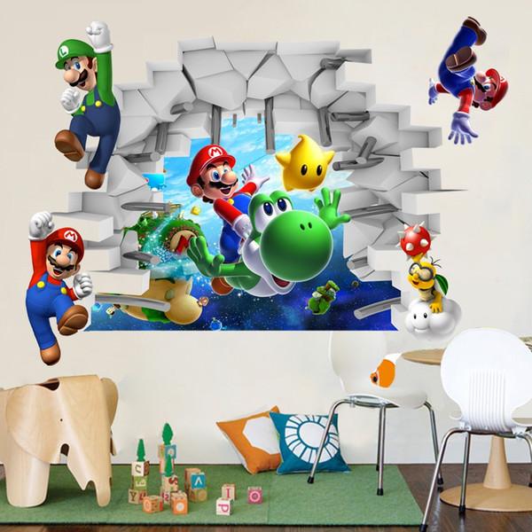 3D Desenhos Animados Super Mario Bros Art Adesivos de Parede Decalques Crianças Room Decor Removível