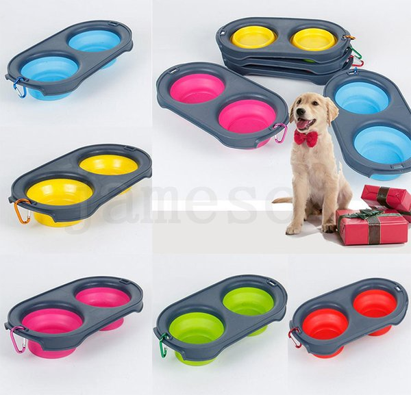 5 style Collapsible Feeding Pet Food Bowls Silicone Cat Double Feeder Bowl Travel Eco Friendly Cat Foldable Dog Supplies with Carabiner dc42