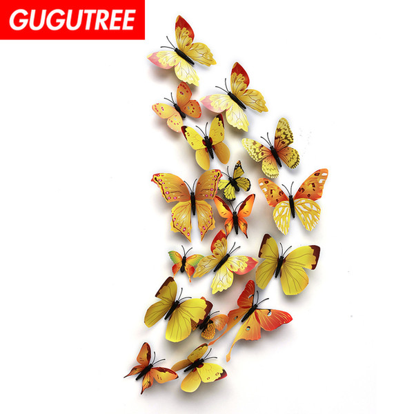 Decorate home 3D buttlefly cartoon art wall sticker decoration Decals mural painting Removable Decor Wallpaper G-952