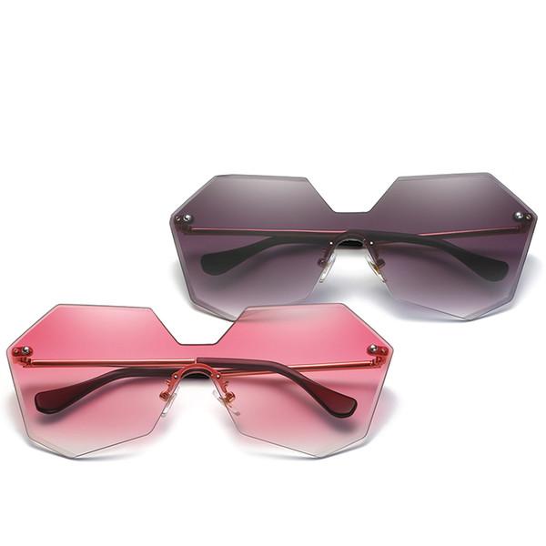 Luxury-2018 Neue Ankunft Personalisierte Randlose Polygonal Einteilige Sonnenbrille Multi Farben Unregelmäßige Foto Sonnenbrille Für Erwachsene
