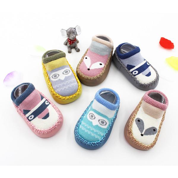 6 Pairs/Lot Lawadka Brand Newborn Cartoon Fox Baby Socks Toddler Socks Anti -Skid Leather Bottom Baby Floor Socks Clothing