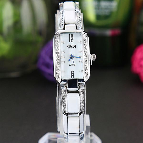 Brillante diamante di lusso rettangolare da donna orologio da donna orologi regali per ragazza acciaio inossidabile quarzo ceramico tridimensionale