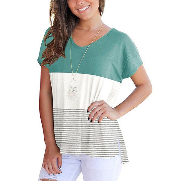 O Neck Patchwork Striped T-Shirt Women 2018 Summer Short Sleeve Tees Top Irreguler Hem Split Tee Shirt Loose Casual Camisa Mujer