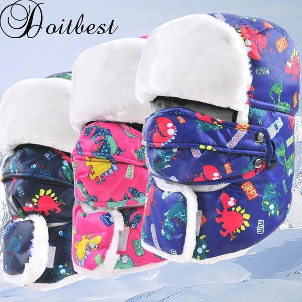 Doitbest 5-13 Y Child Winter fur hats Windproof Thick warm Prevent Fog haze winter snow kid cap Face Mask boy girls ushanka