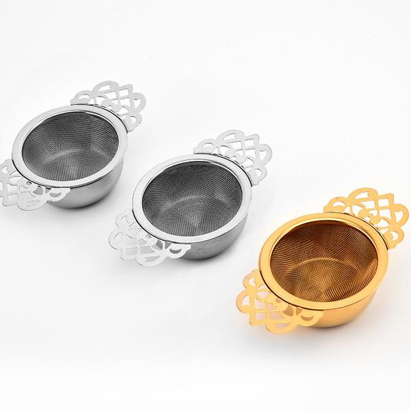 Filtro da tè a base di erbe Filtro a doppio orecchio facile da pulire Filtro in acciaio inossidabile 304 Spezia con ciotola antigoccia Maglia tradizionale CT0155
