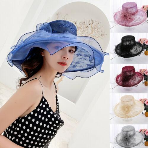 yeni moda Kadın dantel Güneş Şapka yetişkin Geniş Brim Düğün iplik Parti katı gündelik çiçek Şapkalar