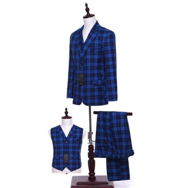 Royal Blue Plaid Men Wedding Suits Groom Tuxedo Bridegroom Business Formal Suits (Jacket + pants + vest) Custom Made C18122501